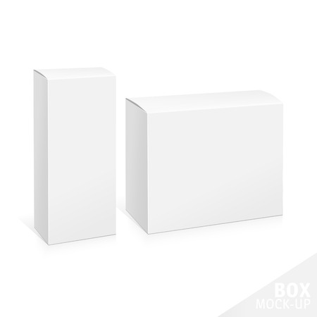 software design: Realistic White Package Box. Template for your design. You can use that packing for  Software, Cosmetics, Electronic Device and Other Products. Vector illustration.