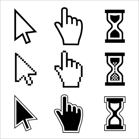 cursor: Vector icon hand, cursor and hourglass on white background.