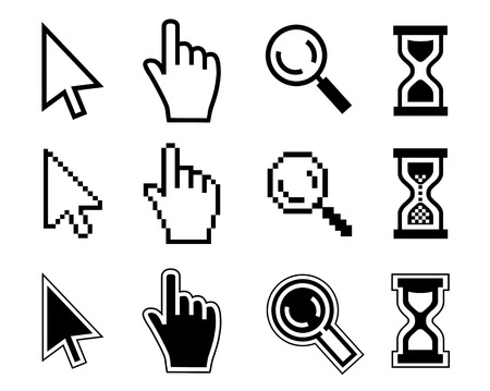 cursor hand: Vector icon hand, cursor and hourglass on white background.