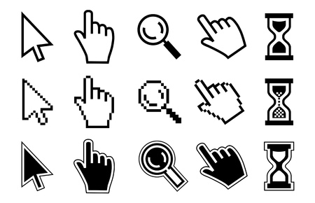 Vector icon hand, cursor and hourglass on white background.