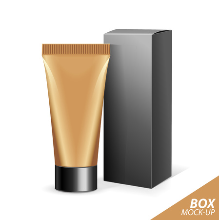 beauty products: Realistic Tubes And Package. Packing White Cosmetics Or Medicines Isolated On Gold Background. You Can Use It For Tube Of Creams, Shampoo, Gel, Sauce, Paint, Ointments, Lotions Or Any Other Product.