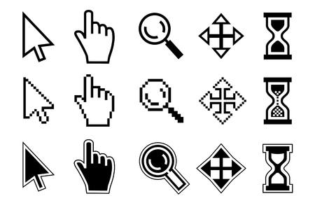 flecha: Vector icono de la mano, cursor y reloj de arena en el fondo blanco.