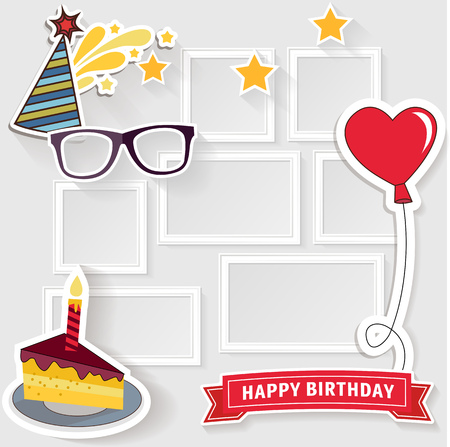 birthday card: Realistic design photo frames on white background. Decorative template for baby, family or memories. Scrapbook concept, vector illustration. Birthday