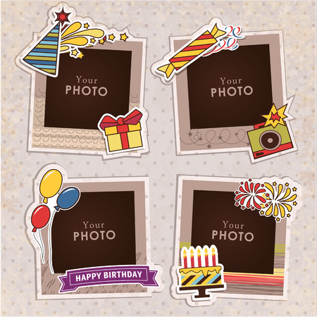 picture: Design photo frames on nice background. Decorative template for baby, family or memories. Scrapbook concept, vector illustration. Birthday