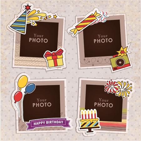 Ontwerp fotolijsten op mooie achtergrond. Decoratieve sjabloon voor baby, familie of herinneringen. Plakboek concept, vector illustratie. Verjaardag Stock Illustratie