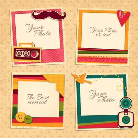 Design photo frames on nice background. Decorative template for baby, family or memories. Scrapbook concept, vector illustration. Birthday