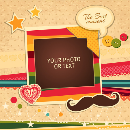 vintage wall: Design photo frames on nice background. Decorative template for baby, family or memories. Scrapbook concept, vector illustration. Birthday