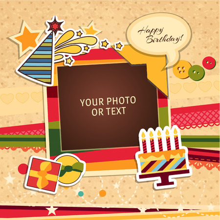 word collage: Design photo frames on nice background. Decorative template for baby, family or memories. Scrapbook concept, vector illustration. Birthday