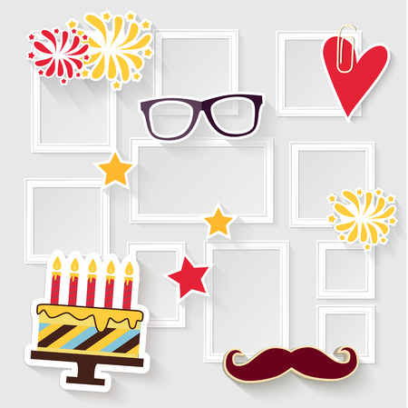 the photo: Realistic design photo frames on white background. Decorative template for baby, family or memories. Scrapbook concept, vector illustration. Birthday