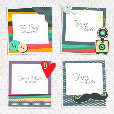 album photo: Design photo frames on nice background. Decorative template for baby, family or memories. Scrapbook concept, vector illustration. Hipster style