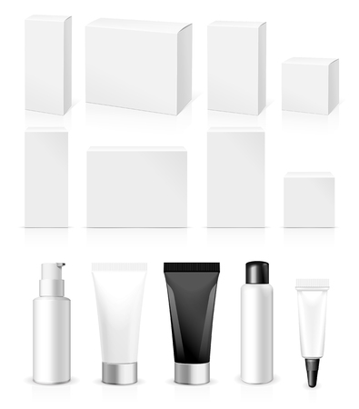product packaging: Realistic Tubes And Package. Packing White Cosmetics Or Medicines Isolated On White Background. You Can Use It For Tube Of Creams, Shampoo, Gel, Sauce, Ointments Or Any Other Product for you design Illustration
