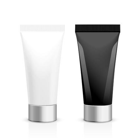 face mask: Realistic vector template.  Tubes and plastic box of cream or medical product on white background. It can be use for you  design. Illustration