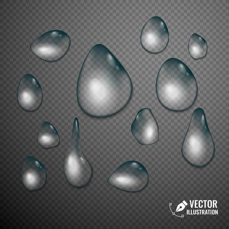 tear: Drop of water on transparent background. Vector illustration Illustration