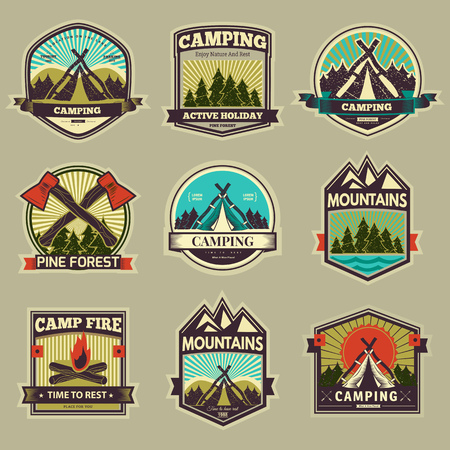 logo: vector retro cổ điển trại nhãn và biểu tượng đồ họa. Cắm trại ngoài trời, phiêu lưu và thám hiểm. Đơn giản và đẹp thiết kế. Du lịch và thăm dò thế giới