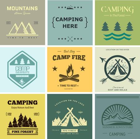 Vector retro campamento vendimia etiqueta y logo gráficos. Acampar al aire libre, aventura y explorador. Diseño simple y agradable. Viajes y exploración del mundo