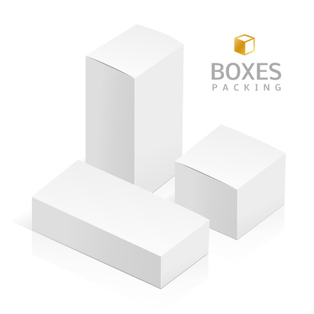 rotations: Realistic white 3D boxes isolated on a white background. Template vector illustration for your design. Illustration