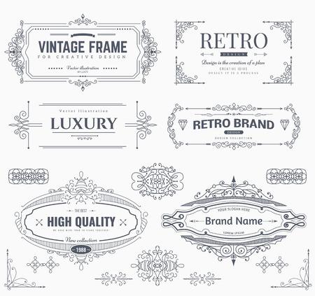 Colección de modelos antiguos. Florece los ornamentos caligráficos y marcos. estilo retro de los elementos de diseño, postal, banderas, logotipos. modelo del vector