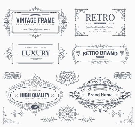 page: Collection of vintage patterns. Flourishes calligraphic ornaments and frames. Retro style of design elements, postcard, banners, logos. Vector template