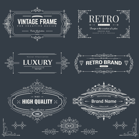 calligraphic: Collection of vintage patterns. Flourishes calligraphic ornaments and frames. Retro style of design elements, postcard, banners, logos. Vector template