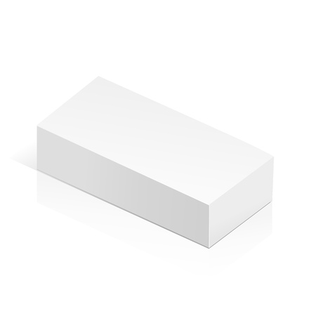 isolated object: White realistic 3D box. Object isolated on white background. Template vector illustration for trade, stand or packaging design.