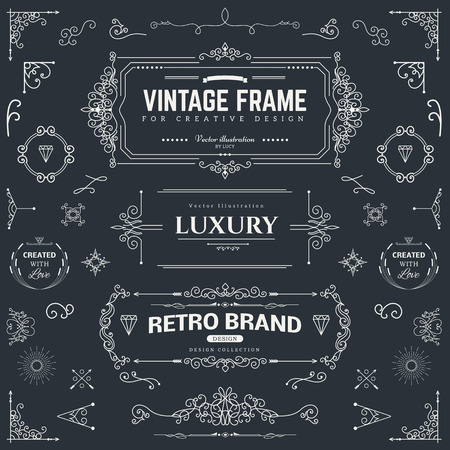 nostalgia: Collection of vintage patterns. Flourishes calligraphic ornaments and frames. Retro style of design elements, postcard, banners, logos. Vector template