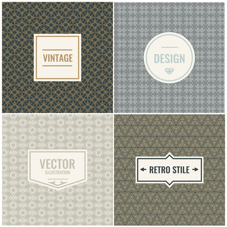 promotional products: Set of Vintage backgrounds for Luxury banners, logo or promotional products. Template Vector Illustration. Illustration