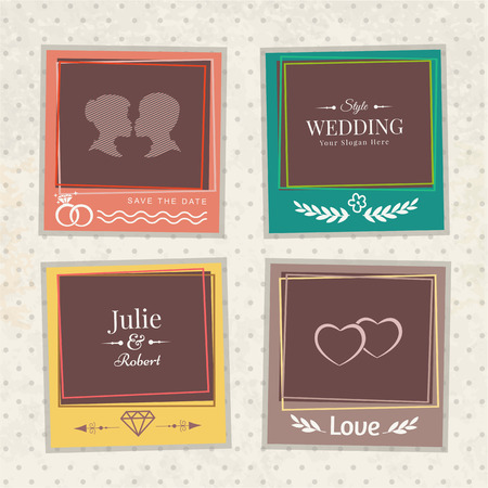 wedding photo frame: Vector template vintage photo frames for your photos. Insert your picture from wedding. Scrapbook concept. Illustration