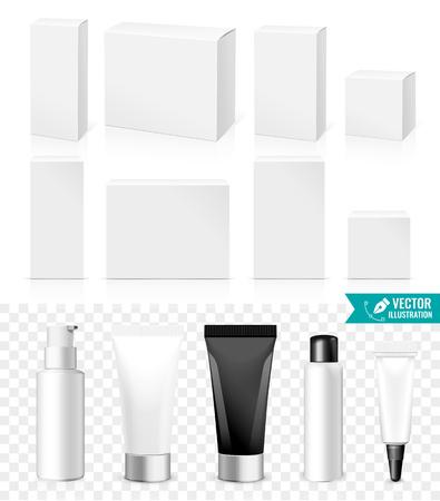 champú: Tubos realistas y cajas. Embalaje Cosméticos blancos, los productos Medicamentos aislados sobre fondo blanco. Usted puede utilizarlo para Tubo de cremas, champú, gel, pomadas o cualquier otro producto para diseñar Vectores