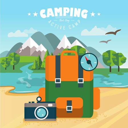 backpack: flat illustration with backpack, camera and compass. Nature background with river, forest, mountains and hills. Outdoor activities. Camping