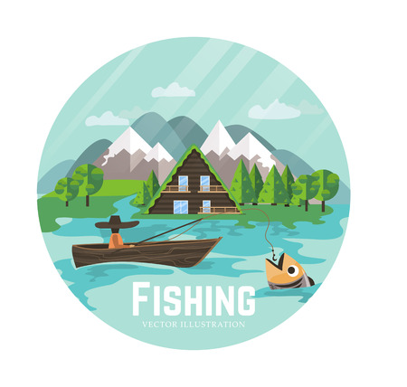 big boat: Fisherman on a boat catching a big fish. Mountain landscape with trees and an ecology home. Outdoor recreation and relaxing. illustration in flat style.