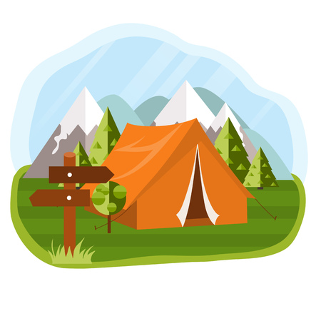 outdoor activities: flat illustration camping. Nature background with grass, forest, mountains and hills. Outdoor activities. Tent and pointer Illustration
