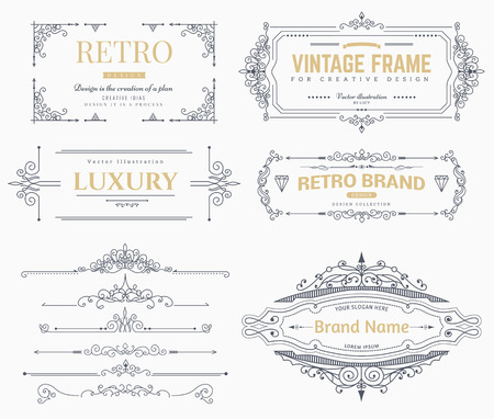 Collection of vintage patterns. Flourishes calligraphic ornaments and frames. Retro style of design elements, postcard, banners.