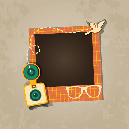 Diseño del marco de la foto en fondo agradable. Plantilla decorativo para el bebé, familia o recuerdos. concepto de álbum de recortes, ilustración vectorial. Cumpleaños