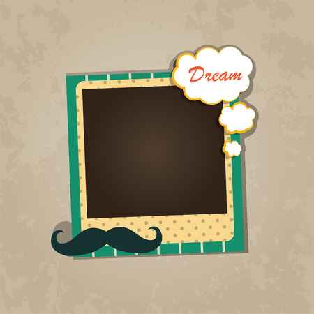 scrapbook frame: Design photo frame on nice background. Decorative template for baby, family or memories. Scrapbook concept, vector illustration. Birthday