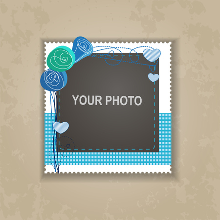 memories: Design photo frame on nice background. Decorative template for baby, family or memories. Scrapbook concept, vector illustration.