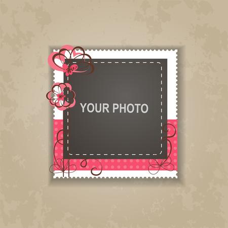 Ontwerp fotoframe op mooie achtergrond. Decoratieve sjabloon voor baby, familie of herinneringen. Scrapbook concept, vector illustratie.