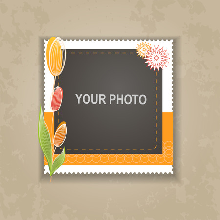 photo frames: Design photo frame on nice background. Decorative template for baby, family or memories. Scrapbook concept, vector illustration.
