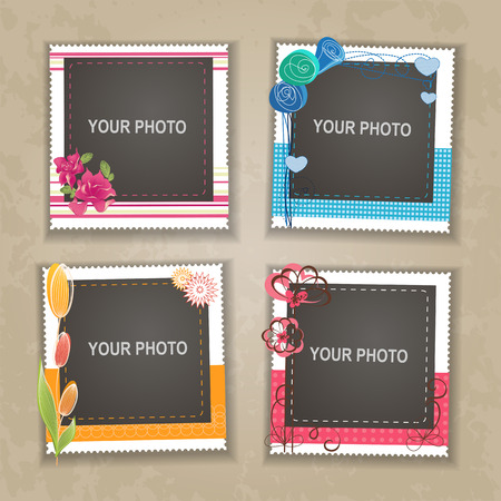 scrapbook frame: Design photo frame on nice background. Decorative template for baby, family or memories. Scrapbook concept, vector illustration.