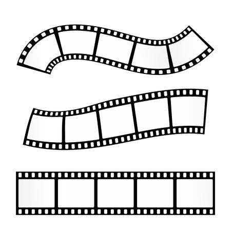 Vector illustration réaliste de bande de film sur fond blanc. rouleau de film Template