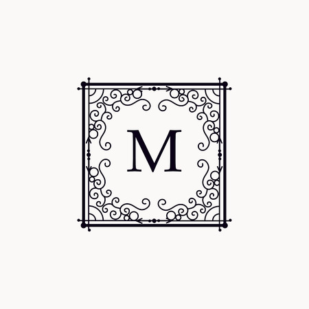 boutique hotel: Monogram luxury template with elegant ornament elements. Luxury elegant design for cafe, restaurant, boutique, hotel, shop, jewelry.