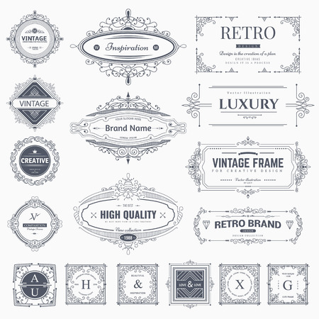 Collection of vintage flourishes calligraphic ornaments and frames. Retro style of design elements, decorations for postcard, banners, . Vector