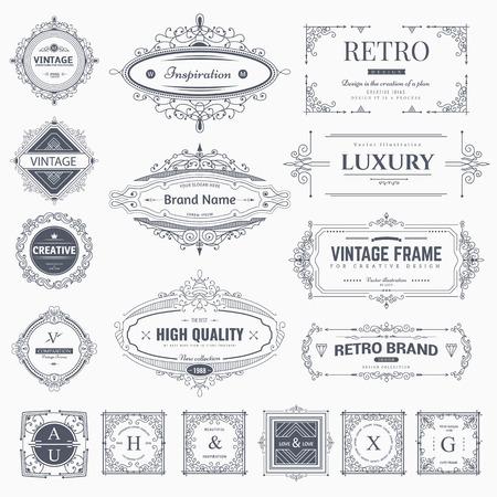 Collection vintage fleurit ornements et cadres calligraphiques. Style rétro des éléments de conception, décorations pour carte postale, bannières,. Vecteur Vecteurs