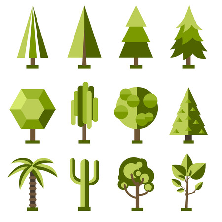 Set of flat stylized trees. Natural vector illustration. Side view
