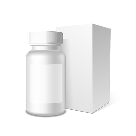 white pills: Realistic packaging and box vector template.Paper and plastic boxes on white background for you design.