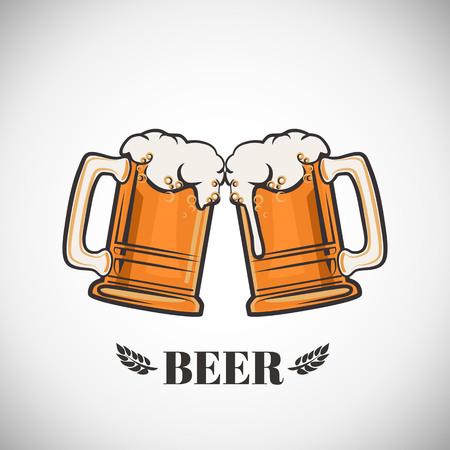 Kop van bier op een witte achtergrond. vector illustratie