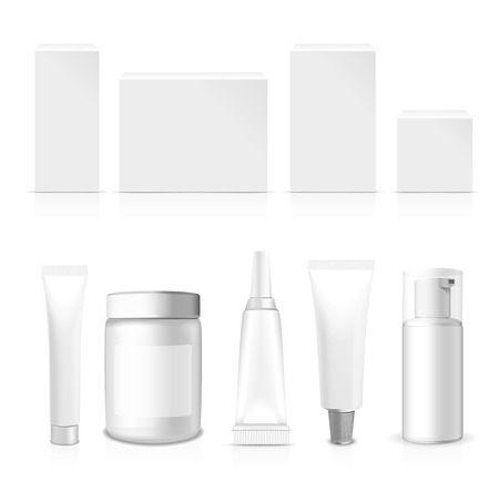 supplements: Realistic Tubes, Jar And Package. Packing White Cosmetics And Medicines Isolated On White Background. You Can Use It For Tube Of Creams, Medication, Chemical, Gel,  Ointments Or Any Other Product Illustration