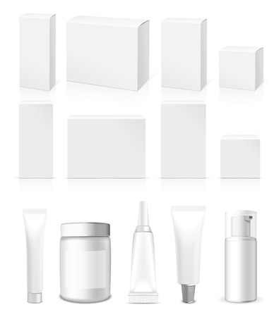 packages: Realistic Tubes, Jar And Package. Packing White Cosmetics And Medicines Isolated On White Background. You Can Use It For Tube Of Creams, Medication, Chemical, Gel,  Ointments Or Any Other Product Illustration