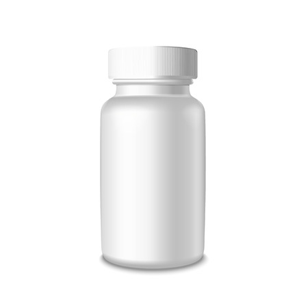 white pills: Vector blank medical plastic packaging bottle for pills Isolated on white background Illustration