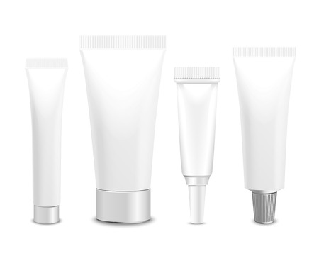 Realistic vector template. Tubes, plastic packaging of cream or medical product on white background. You can use it for you design of your products