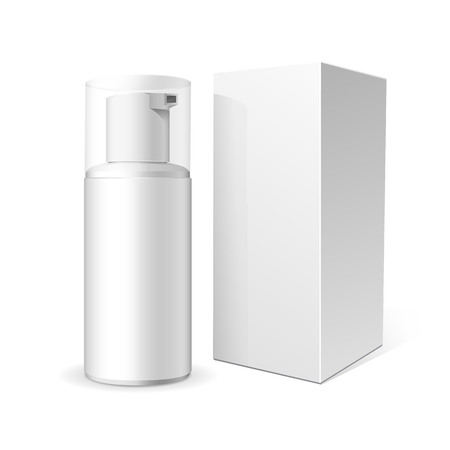 dispenser: Make up. Tube of cream or foam in plastic product. Container, product and packaging. White background.